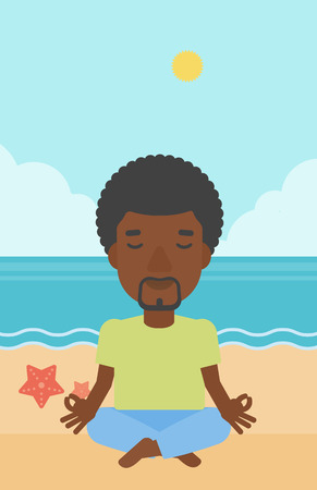 An african-american man meditating in lotus pose on the beach vector flat design illustration. Vertical layout.