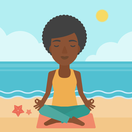 elasticity: An african-american woman meditating in lotus pose on the beach vector flat design illustration. Square layout. Illustration