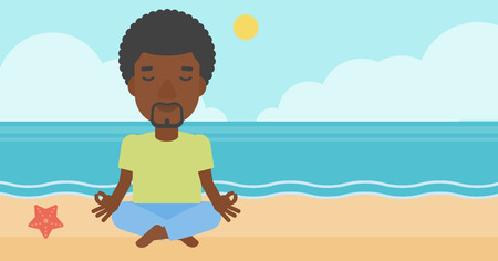 elasticity: An african-american man meditating in lotus pose on the beach vector flat design illustration. Horizontal layout.