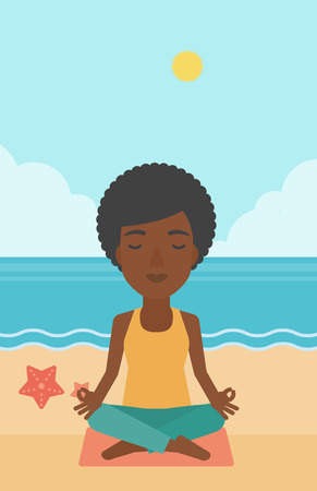 An african-american woman meditating in lotus pose on the beach vector flat design illustration. Vertical layout.