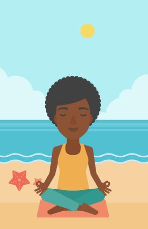 elasticidad: Una mujer afroamericana meditando en posici�n de loto en la ilustraci�n vectorial dise�o plano playa. disposici�n vertical.