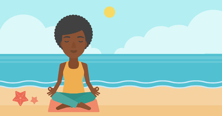 elasticity: An african-american woman meditating in lotus pose on the beach vector flat design illustration. Horizontal layout.