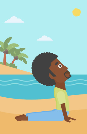An african-american man practicing yoga upward dog pose on the beach vector flat design illustration. Vertical layout. Illustration