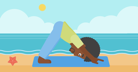 facing: An african-american man standing in yoga downward facing dog pose on the beach vector flat design illustration. Horizontal layout.