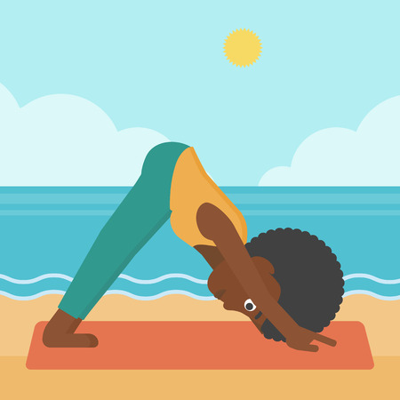An african-american woman standing in yoga downward facing dog pose on the beach vector flat design illustration. Square layout.