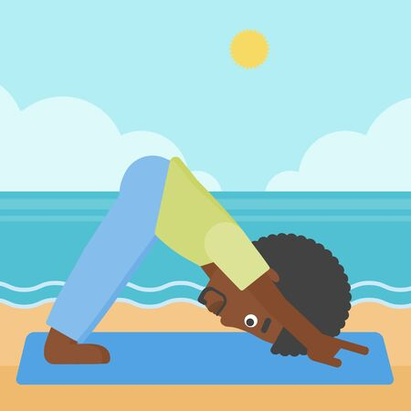 An african-american man standing in yoga downward facing dog pose on the beach vector flat design illustration. Square layout.