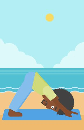 downward: An african-american man standing in yoga downward facing dog pose on the beach vector flat design illustration. Vertical layout. Illustration
