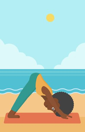 facing: An african-american woman standing in yoga downward facing dog pose on the beach vector flat design illustration. Vertical layout. Illustration