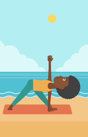 An african-american woman meditating in yoga triangle pose on the beach vector flat design illustration. Vertical layout. Çizim