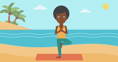 An african-american woman standing in yoga tree pose on the beach vector flat design illustration. Horizontal layout.