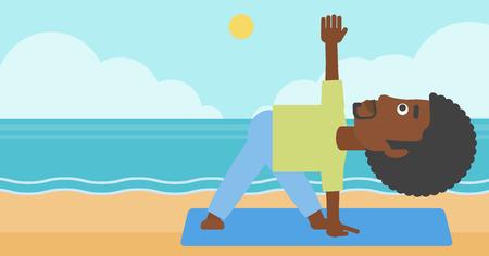 man meditating: An african-american man meditating in yoga triangle pose on the beach vector flat design illustration. Horizontal layout.