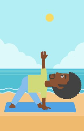 An african-american man meditating in yoga triangle pose on the beach vector flat design illustration. Vertical layout.