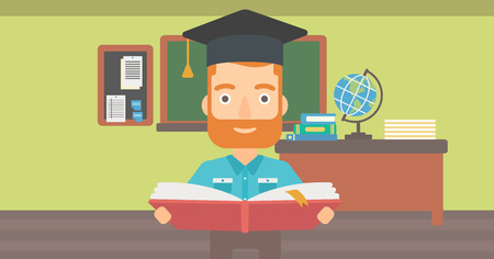 A hipster man in graduation cap with an open book in hands on the background of classroom vector flat design illustration. Horizontal layout.