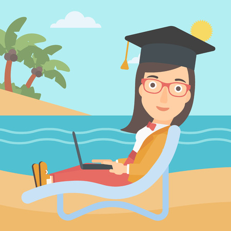 A woman in graduation cap lying in chaise long with laptop on the beach vector flat design illustration. Square layout. Illustration