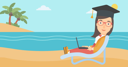 lying in: A woman in graduation cap lying in chaise long with laptop on the beach vector flat design illustration. Horizontal layout. Illustration