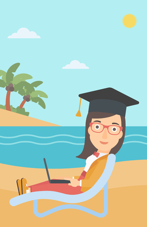 lying in: A woman in graduation cap lying in chaise long with laptop on the beach vector flat design illustration.  Vertical layout. Illustration