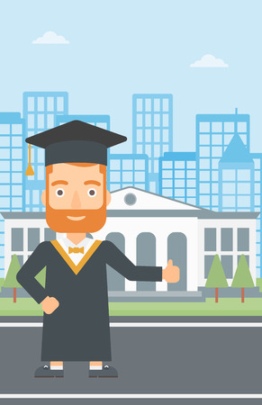 A hipster man in cloak and hat showing thumb up sign on the background of educational building vector flat design illustration. Vertical layout. Ilustração