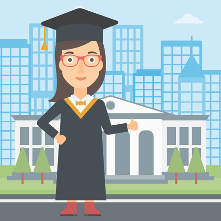 A woman in cloak and hat showing thumb up sign on the background of educational building vector flat design illustration. Square layout.