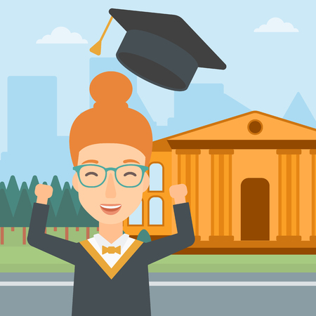 woman throwing: A happy woman throwing up her hat on the background of educational building vector flat design illustration. Square layout. Illustration