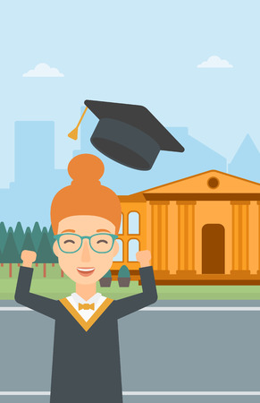 A happy woman throwing up her hat on the background of educational building vector flat design illustration. Vertical layout. Ilustração
