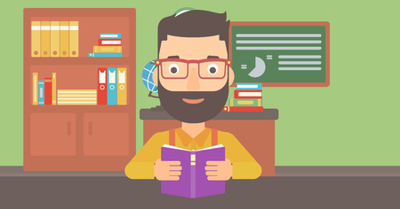 A hipster man with the beard reading a book on the background of classroom vector flat design illustration. Horizontal layout.
