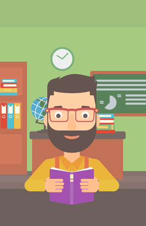 A hipster man with the beard reading a book on the background of classroom vector flat design illustration. Vertical layout.