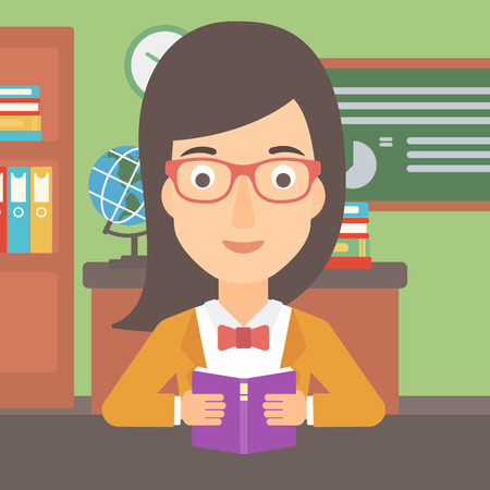 A woman reading a book on the background of classroom vector flat design illustration. Square layout. Illustration
