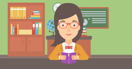 A woman reading a book on the background of classroom vector flat design illustration. Horizontal layout. 일러스트