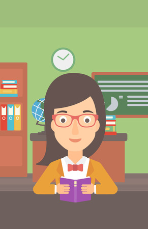 A woman reading a book on the background of classroom vector flat design illustration. Vertical layout.