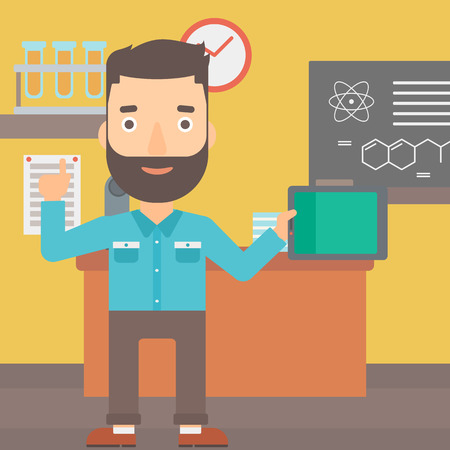 man pointing up: A hipster man with the beard standing with a tablet computer and pointing his forefinger up on the background of chemistry class vector flat design illustration. Square layout. Illustration