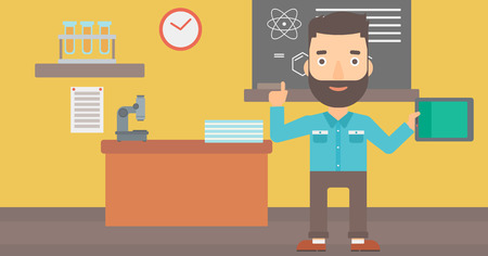man pointing up: A hipster man with the beard standing with a tablet computer and pointing his forefinger up on the background of chemistry class vector flat design illustration. Horizontal layout. Illustration