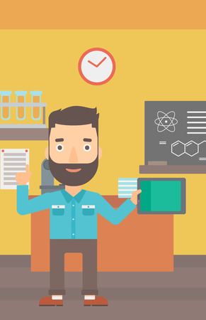 man pointing up: A hipster man with the beard standing with a tablet computer and pointing his forefinger up on the background of chemistry class vector flat design illustration. Vertical layout.