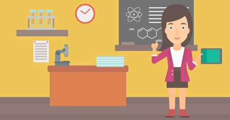 woman pointing up: A woman standing with a tablet computer and pointing her forefinger up on the background of chemistry class vector flat design illustration. Horizontal layout.