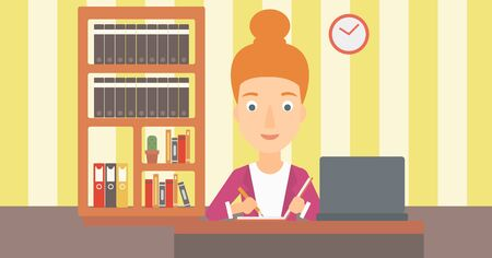 A woman sitting in front of laptop and taking some notes on the background of room vector flat design illustration. Horizontal layout.