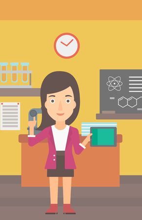 woman pointing up: A woman standing with a tablet computer and pointing her forefinger up on the background of chemistry class vector flat design illustration. Vertical layout.