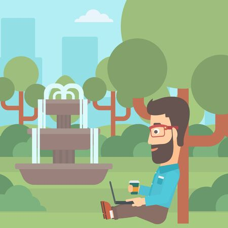 laptop outside: A hipster man with cup of coffee studying in park using a laptop vector flat design illustration. Square layout.