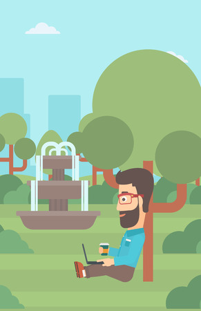 A hipster man with cup of coffee studying in park using a laptop vector flat design illustration. Vertical layout.
