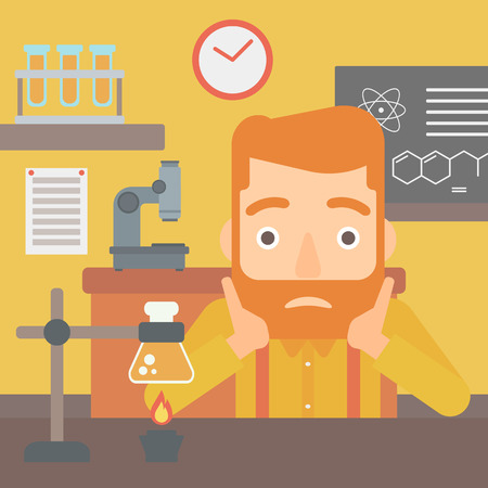 exhaustion: A hipster man with the beard clutching his head on the background of chemistry class vector flat design illustration. Square layout.