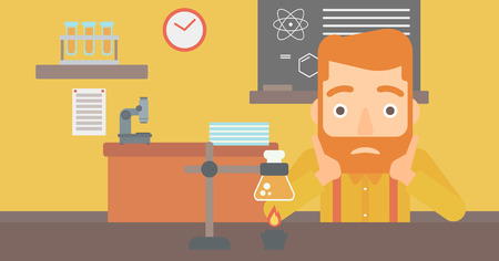 stress test: A hipster man with the beard clutching his head on the background of chemistry class vector flat design illustration. Horizontal layout. Illustration