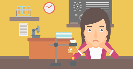 despair: A woman in despair clutching her head on the background of chemistry class vector flat design illustration. Horizontal layout. Illustration