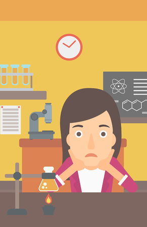 despair: A woman in despair clutching her head on the background of chemistry class vector flat design illustration. Vertical layout.