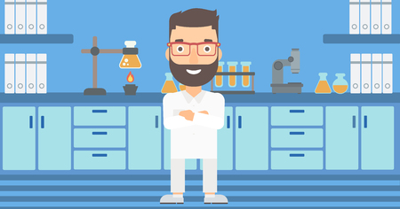 A hipster man with the beard standing on the background of laboratory vector flat design illustration. Horizontal layout.