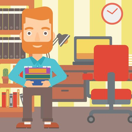 condo: A hipster man with the beard holding pile of books on the background of room vector flat design illustration. Square layout.