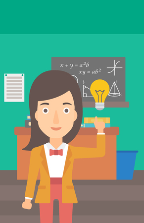 light classroom: A woman pointing a finger at the light bulb on the background of classroom vector flat design illustration. Vertical layout.