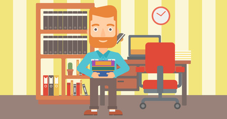 A hipster man with the beard holding pile of books on the background of room vector flat design illustration. Horizontal layout.