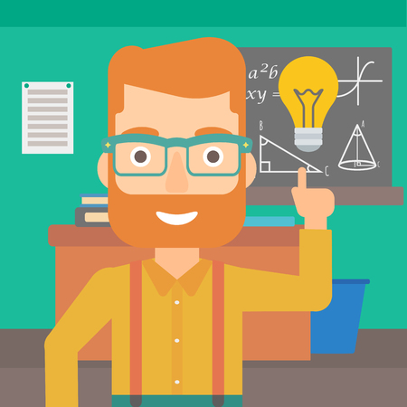 light classroom: A hipster man with the beard pointing a finger at the light bulb on the background of classroom vector flat design illustration. Square layout.