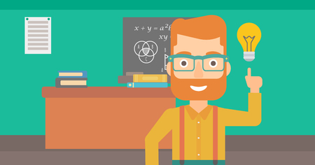 light classroom: A hipster man with the beard pointing a finger at the light bulb on the background of classroom vector flat design illustration. Horizontal layout.