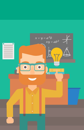 light classroom: A hipster man with the beard pointing a finger at the light bulb on the background of classroom vector flat design illustration. Vertical layout.