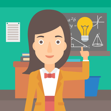 light classroom: A woman pointing a finger at the light bulb on the background of classroom vector flat design illustration. Square layout.