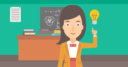 light classroom: A woman pointing a finger at the light bulb on the background of classroom vector flat design illustration. Horizontal layout.